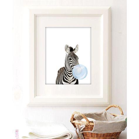 Excited to share the latest addition to my #etsy shop: Nursery Decor Safari Animals Blue Bubble Gum Giraffe Zebra Children Room Decor Cute Animal Wall Art Printable