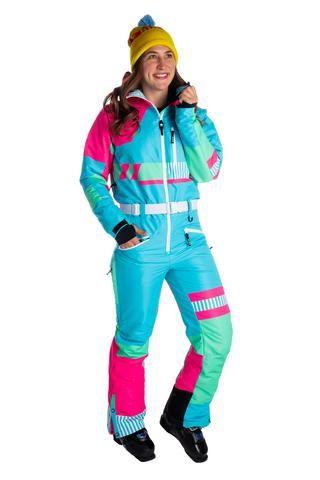 The Billie S Jeans Women S Neon Retro Ski Suit Retro Ski Suit Women Jeans Womens Snowsuit