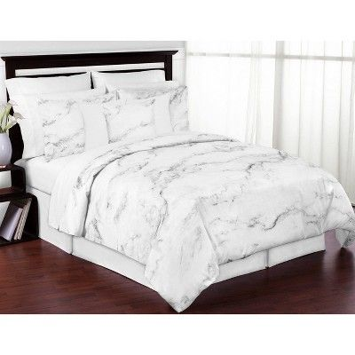 Black White Marble Throw Pillow Sweet Jojo Designs In 2020 With Images Queen Bedding Sets Marble Bedding Bed Linens Luxury