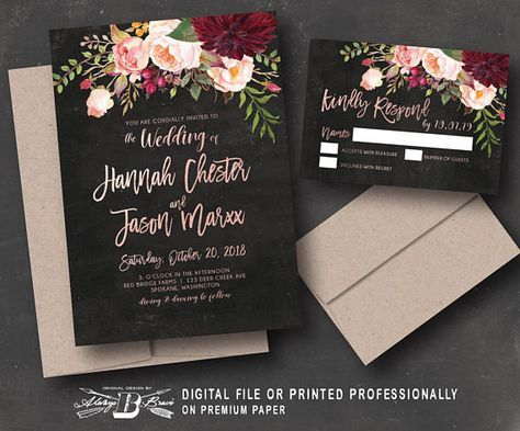 Printable Rustic Winery Wedding Invitation with RSVP Card Digital File