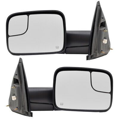 Black Pair Power Heated Towing Mirrors For Ram 1500 Pickup Signal Lights Side