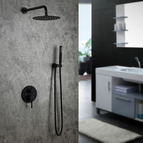 Modern Matte Black Wall Mounted Rain Shower System with Round Rainfall Shower Head Handheld Shower Set Solid Brass cUPC Certificated