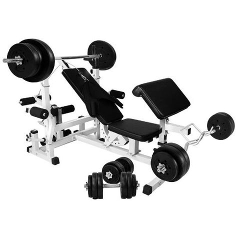 Gorilla Sports Universal Workstation With 100kg Vinyl Weight Set At Home Gym Weight Set Sports