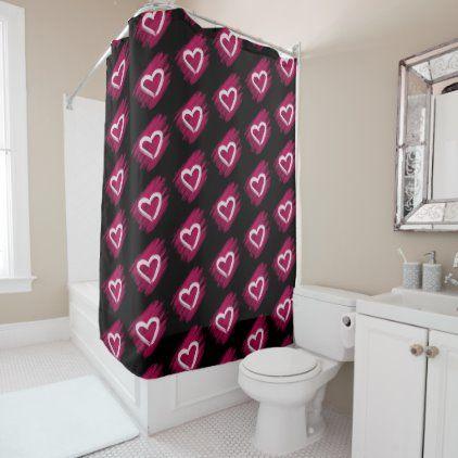 White Valentines Hearts On Pink Black Shower Curtain Zazzle Com In 2020 Black Shower Black Shower Curtains Bathroom Decor