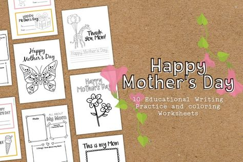 Happy Mothers Day Coloring and Educational Worksheets