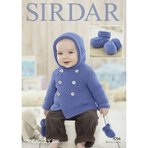 75cb50bf2dbd Sirdar Snuggly Dk Cardigan Mittens And Bootees Pattern 4706 ...