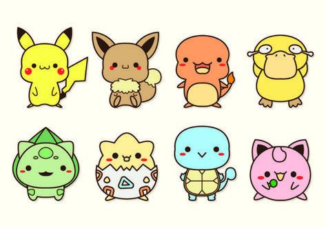 Conjunto De Iconos Pokemon Dibujos Kawaii De Animales Historieta Graciosa Dibujos Kawaii