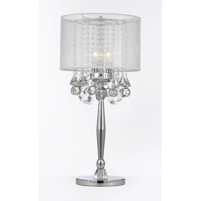 Rosdorf Park Largent 29 Table Lamp Shade Color White Crystal Table Lamps Bedroom Crystal Lighting Silver Table Lamps