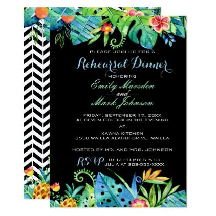 #Tropical Floral Black Rehearsal Dinner Invitation - #beach #wedding #invitations #weddinginvitations #card #cards #celebration #beautiful #summer #summerwedding #savethedate #island #heat #love