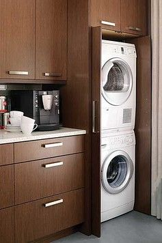 How We Installed A Washer Dryer In The Kitchen Nyc Apartment Laundry In Kitchen Small Laundry Rooms Hidden Laundry