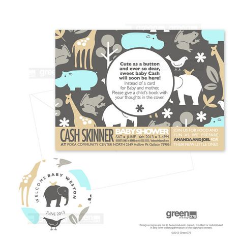 Baby Shower Invitations Michael Miller Sea Zoology By Green375