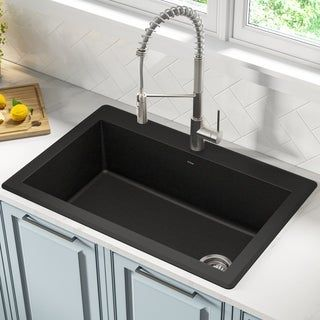 Kraus Kgd 54 Forteza Undermount Drop In 33 Inch Granite Kitchen Sink Black Drop In Kitchen Sink Granite Kitchen Sinks Single Bowl Kitchen Sink
