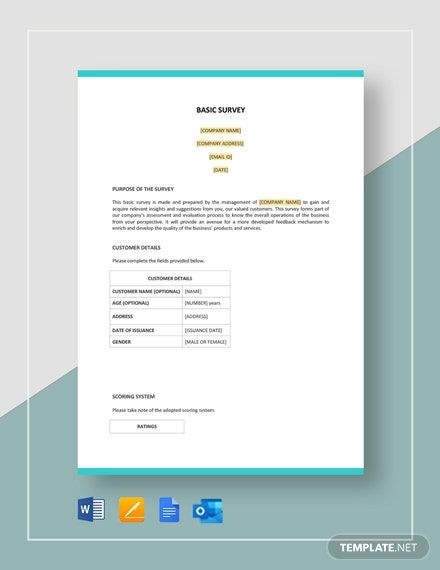 Basic Survey Template Word Doc Apple Mac Pages Google Docs Survey Template Survey Template Word Word Doc