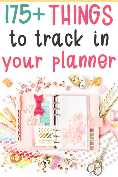Things to Track in your Planner – Over 175 Ideas for your Planner! Finding things to track in your planner can be difficult at times. I have over 175 ideas of things you can use your planner to track!