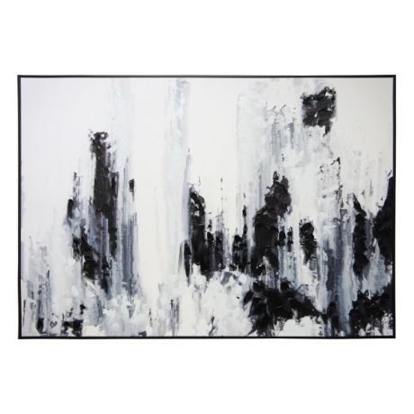 Black And White Abstract Brush Stroke Canvas Black Frame