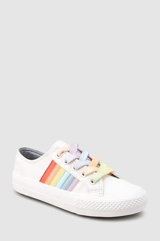 Buy White Rainbow Lace-Up Trainers
