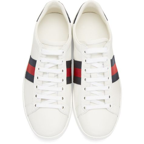 44a2394c6 Gucci White Leather Stripe New Ace Sneakers ($495) ❤ liked on Polyvore  featuring shoes, sneakers, gucci sneakers, leather lace up sneakers, white  low top ...