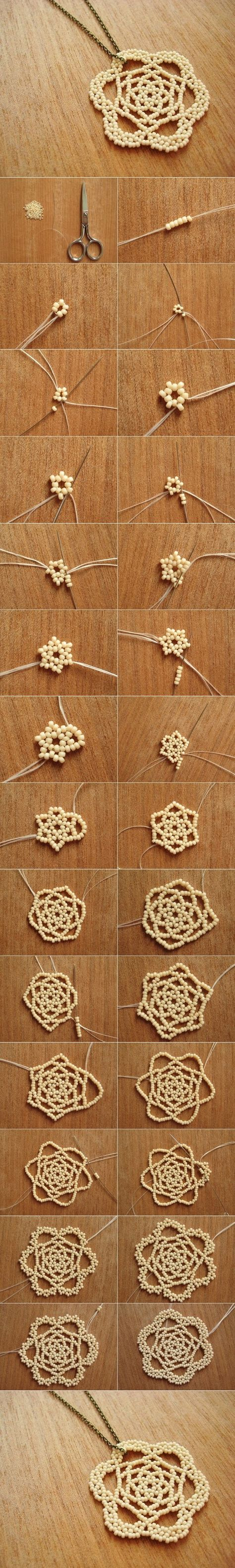 DIY Beaded Rose Necklace Pendant - http://manmadediy.me/diy-beaded-rose-necklace-pendant/
