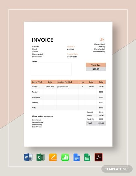 Daycare Invoice Template Free Pdf Word Excel Apple Pages Google Docs Google Sheets Apple Numbers Invoice Template Word Invoice Template Bill Template
