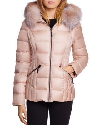 Dawn Levy Nikki Saga Fur Trim Short Down Coat Abyss