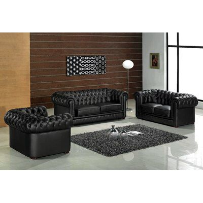Botkin Leather 3 Piece Living Room Set