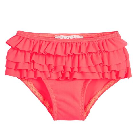999a469d02db8 Little girls bright neon pink bikini bottoms by Lili Gaufrette. Soft and  stretchy
