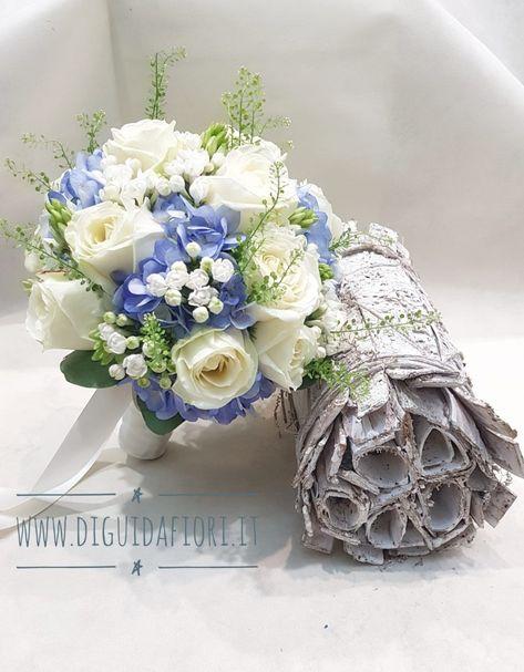 Bouquet Sposa Rose E Ortensie.Bouquet Da Sposa Con Rose Bianche E Ortensia Azzurro Polvere
