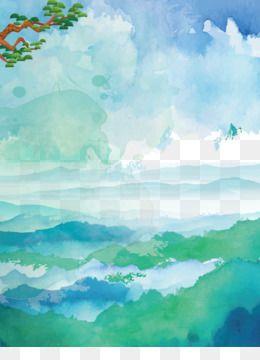 الرسم بالألوان المائية U6c34u5f69u98a8u666fu756b ألوان مائية السماء الزرقاء من الغيوم خلفية البحر Watercolor Sea Painting Sky Painting
