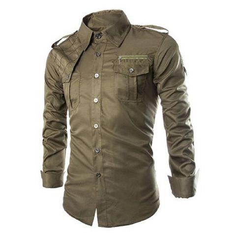 5bd0423b33af Uniform Style Long Sleeve Men's Shirt with Zipper Design