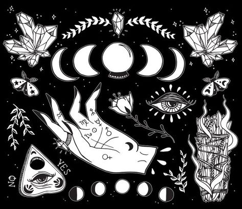 Witchcraft Art print. So many details in this illustration & so many symbols! This illustration includes crystals, moon phase, lunar moth, crystal ball, herbs, palmistry hand, third eye, Ouija planchette & sage burning! These are symbols of independence, creativity, and intuition!