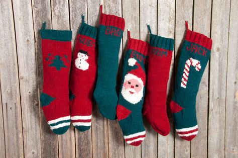 Knitted Christmas Stockings / Personalized FREE / Striped Wool Stockings / Hand Knitted / Red Green White