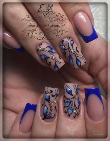 67+ Trendy Nails Blue French Flower Designs