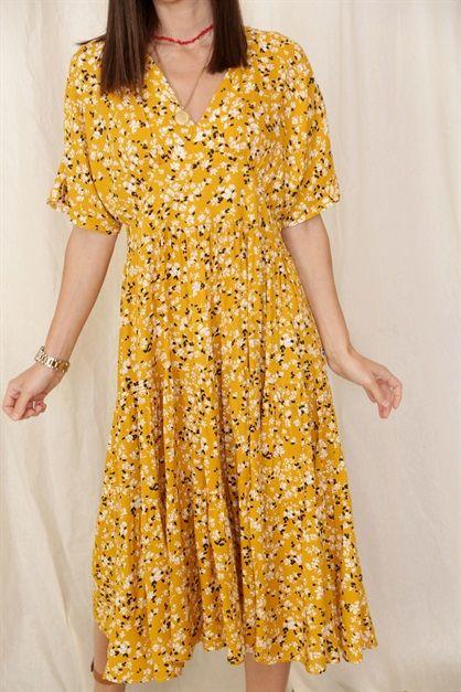 Sari Kisa Kol Cicekli Midi Elbise 081 5in1canpolat 2020 Midi Elbise Elbise Maksi Elbiseler