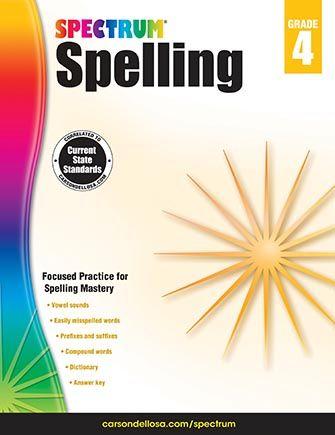 Spectrum Spelling Workbook Grade 4 Paperback In 2021 Math Workbook Word Problems Word Study