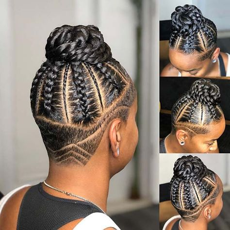 Shaved hair can look so edgy and it can really make simpler braided hairstyles look more bold. We have found 23 braids with shaved sides that you'll love! Shaved Side Hairstyles, Braided Bun Hairstyles, My Hairstyle, Protective Hairstyles, Protective Styles, Braided Buns, Wedding Hairstyles, Perfect Hairstyle, Messy Buns