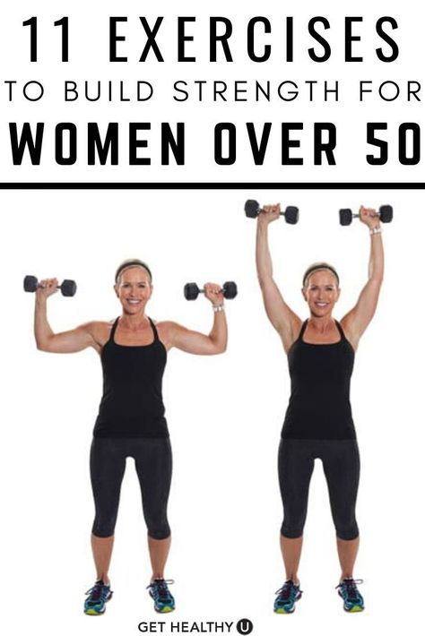 11 Strength Training Moves Women Over 50 Should Do Exercise not only keeps you feeling and looking younger, but actually physically slows down the aging process. Here are 11 low-impact exercises that will work. Fitness Workout For Women, Body Fitness, Fitness Tips, Health Fitness, Fitness Memes, Fitness Plan, Pilates Workout, Fitness Senior, Senior Workout