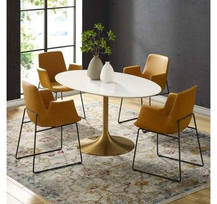 Tulip Dining Table With 60 Oval Fiberglass Top Gold Base
