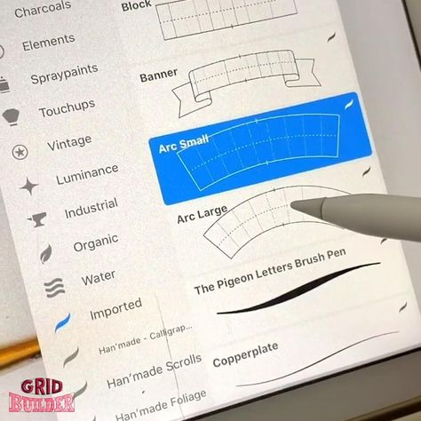 Draw stunning letterings. ✍️ With the Grid & Letter Builder! 😃 ✔️ Works with Procreate, Photoshop, Illustrator … ✔️ Over 40 brushes / shapes ✔️ Bundle Deal – Save $ 9.50 ✔️ Instruction PDFs ✔️ Great support ✔️ 30 Days Money Back Guarantee Start lettering like a pro NOW!