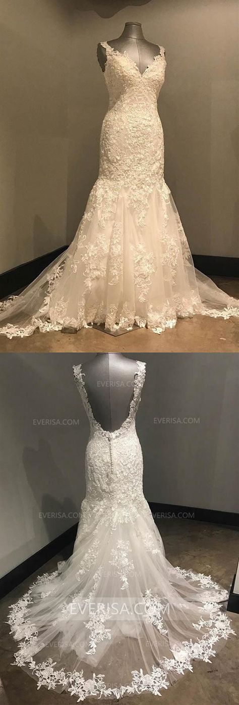 56fb8475a947 2018 Ivory V-Neck Open Back Lace Wedding Dress Mermaid Bridal Gown