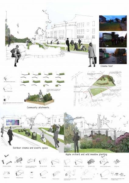 landscape design idea - architectural drawing / rendering, Powerpoint templates