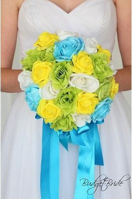 Teal Green And Yellow Wedding Flower Brides Bouquet With Pearls