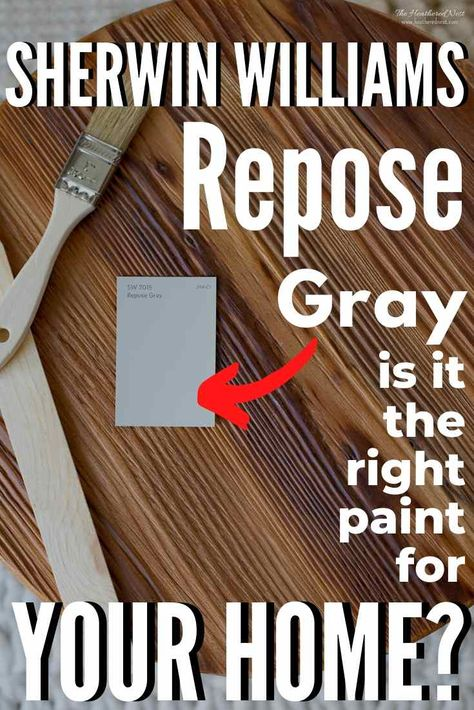 Sherwin Williams Repose Gray + 30 Real Homes That Use It! Is this popular shade of gray paint the right shade for you? See it in 30 real homes, explore the undertones, temperature  more! #sherwinwilliams #reposegray #sherwinwilliamsreposegray #reposegraylivingroom #reposegraykitchen #reposegraybedroom #reposegrayexterior #reposegrayversusagreeablegray #graypaint #bestgraypaint #greypaint #neutralpaint #bestneutralpaint