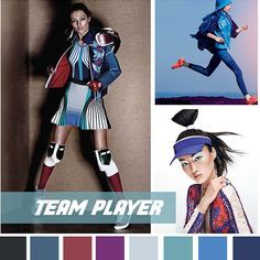 #DesignOptions FW18/19 color report on #WeConnectFashion, Contemporary Activewear Mood: Team Player.