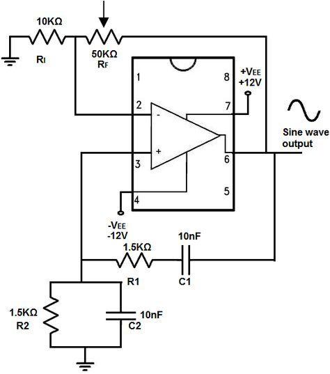 Wien Bridge Oscillator Circuit Built With An Lm741 Elektroniken