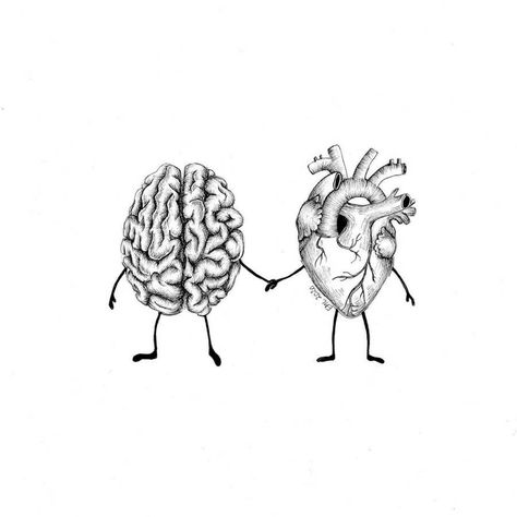 It's best when they work together. Heart and Brain Drawings. Click the image, for more art by Evelyn Lorenz. Brain Drawing, Brain Art, Mandala Drawing, Art Drawings Sketches, Tattoo Drawings, Unique Drawings, Easy Drawings, Brain Tattoo, Heart Sketch