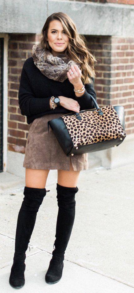d265057fabb Black Knit   Leopard Tote Bag   Brown Suede Skirt   Black OTK Boots ...
