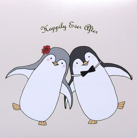 Penguin Love Illustration Print Cute Penguin by mikaart on Etsy, $8.99