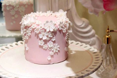 Cute Little Pink Cake with Tiny Flowers