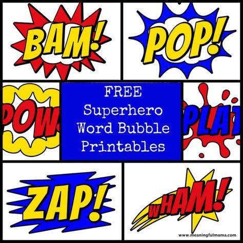 Superhero Word Bubble Printables