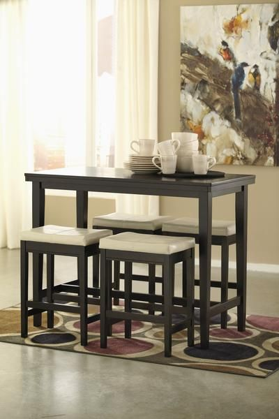 Kimonte Dining Room Counter Table And Ivory Stools Wood Dining